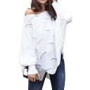 Ladies Spring Autumn Slouchy Sexy Plain Open-Knit Boat Neck Batwing Sleeve Sweater