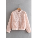 Plain Embroidered Leaves Printed Sun Protection Pink Baseball Jacket Coat