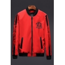 New Trendy Tiger Logo Print Zip Closure Long Sleeve Stand Collar Casual Bomber Jacket