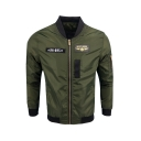 Hot Popular Stand Collar Long Sleeve Embroidery Epaulets Letter Zipper Casual Bomber Jacket
