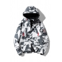 Guys Unique Camouflage Printed Long Sleeve Single Breasted Hooded Casual Jacket