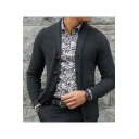 Mens New Stylish Simple Solid Color Long Sleeve Button Front Cardigan Knitwear