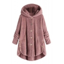 Winter Women's Popular Single Breasted Asymmetric Hem Hooded Longline Plain Plush Coat