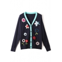 Womens Fresh Floral Print V-Neck Long Sleeve Fitted Cardigan