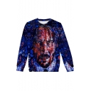 Hot Fashion John Wick Figure Printed Round Neck Long Sleeve Pullover Sweatshirts