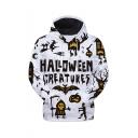Halloween New Stylish Letter Skull Pumpkin Printed Long Sleeve Unisex Pullover Hoodie