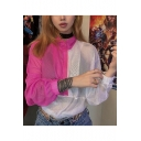 New Stylish Half-Zip Stand Up Collar Sheer Mesh Pink And White Color Block Cropped Pullover Sweatshirt