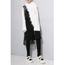 New Stylish Lace Patchwork Zippered Front Long Sleeve Long Loose Hoodie