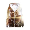 Popular Fashion Cool Bear 3D Printed Long Sleeve Khaki Zip Up Hoodie