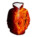 Hot Fashion Orange Flame Lion King 3D Printed Long Sleeve Casual Loose Pullover Hoodie