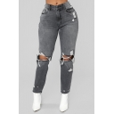 Womens New Stylish High Waist Ripped Knee Distressed Dark Gray Straight Leg Jeans