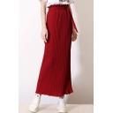 Women's Tied Waist Plain Chiffon Pleated Maxi Skirt