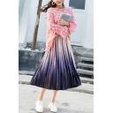Hot Popular Color Gradient Elastic Waist Pleated Midi A-Line Skirt for Girls