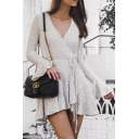 Womens Hot V-Neck Ruffle Sleeves Bow-Tied Wait White Asymmetrical A-Line Mini Dress