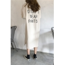 Womens New Trend Round Neck Long Sleeve Letter Print Slit Loose T-Shirt Shift Sweatshirt Maxi Dress