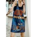 Womens Summer Fashion Letter Scoop Neck Sleeveless Loose Midi Shift Cami Dress