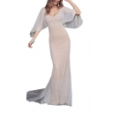 Womens Hot Fashion V-Neck Sleeveless Plain Lace Eneving Sheath Floor Length Maxi Dress