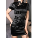 Vintage Chinese Style Stand Collar Short Sleeve Tie Front Slit Black Mini Sheath Cheongsam Dress