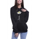Flower Printed Long Sleeve Black Leisure Pullover Hoodie With Pockets