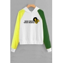 SAVE BEES SAVE PEOPLE Letter Bee Printed Long Sleeve Color Block Pullover Hoodie