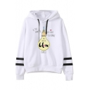 New Stylish Drawstring Hood Illuminate Others Print Stripe Long Sleeve Hoodie