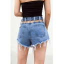 Summer Cool Street Plain High Waist Tassel Trim Cutout Back Eyelet Embellished Denim Shorts