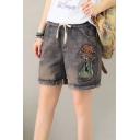 Burnout Draw Crop Distressed Washed Raw Hem Letter Girl Dog Printed Denim Shorts