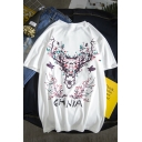 Mens Nice Short Sleeve Round Neck CHNIA Letter Bird Floral Printed T-Shirt for Couple