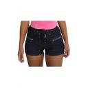 Stylish Navy Gather Waist Lace Up Front Zip Pocket Skinny Denim Shorts