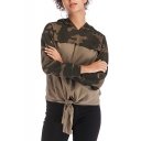 Cool Unique Long Sleeve Colorblock Patch Knotted Front Green Camo Hoodie