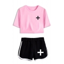 TXT Simple Logo Print Short Sleeve Cropped Tee with Loose Dolphin Shorts Sport Two-Piece Set