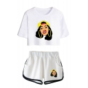 Funny Cartoon Figure Printed Short Sleeve Crop T-Shirt with Loose Shorts Sport Two-Piece Set Co-ords