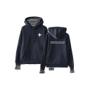 Popular TXT Simple Letter Logo Print Striped Fake Two-Piece Loose Hoodie