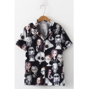 Summer Popular Short Sleeve Lapel Collar Cartoon Girl Printed Button Shirt