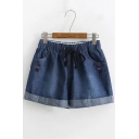 New Arrival Drawstring Cord Rolled Hem Cat Embroidered Loose Holiday Denim Shorts