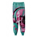 New Stylish Skull 3D Printed Drawstring Waist Casual Cotton Sweatpants