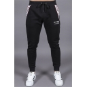 Men's New Fashion Letter GYM Printed Drawstring Waist Casual Sports Sweatpants Pencil Pants