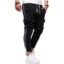Men's New Fashion Contrast Stripe Side Flap Pocket Design Black Drawstring Waist Cargo Sweatpants Pencil Pants