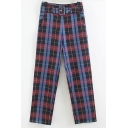 New Stylish Blue and Purple Plaid Pattern Belt Buckle High Waist Retro Straight Pants
