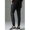 Men's Simple Fashion Letter TIGERBIN Stripe Printed Zipped Pocket Drawstring Waist Cotton Sweatpants
