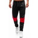 Men's Popular Fashion Colorblock Patched Drawstring Waist Casual Jogging Sweatpants