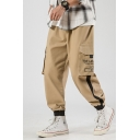 Men's New Fashion Letter Printed Contrast Tape Side Casual Loose Sports Cargo Pants