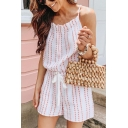 White Strap Sleeveless Polka Dot Striped Printed Drawstring Waist Casual Loose Rompers