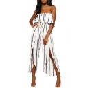 White Striped High Waist Strapless Sleeveless Slit Front Wide Leg Loose Bandeau Jumpsuits