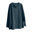 Hot Trendy Retro Chinese Style Plain V Neck Long Sleeve Casual Loose Linen Cotton T Shirt Blouse