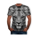 Summer Grey Short Sleeve Round Neck Lion Printed Cool Unique Tee