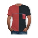 Summer Hot Trendy Short Sleeve Round Neck Colorblock Patch Letter Printed Pocket Front Personalized T-Shirt