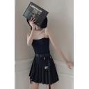 Cool Unique Black High Waist Bag Bucket Belt Flap Pocket Mini Pleated A-Line Skirt