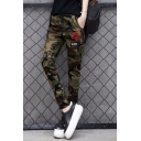 Men's Cool Fashion Letter Star Embroidery Camouflage Printed Drawstring Waist Casual Slim Pencil Pants