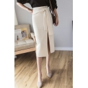 New Stylish High Waist Self-Tie Split Side Plain Midi Skirt for Office Lady
